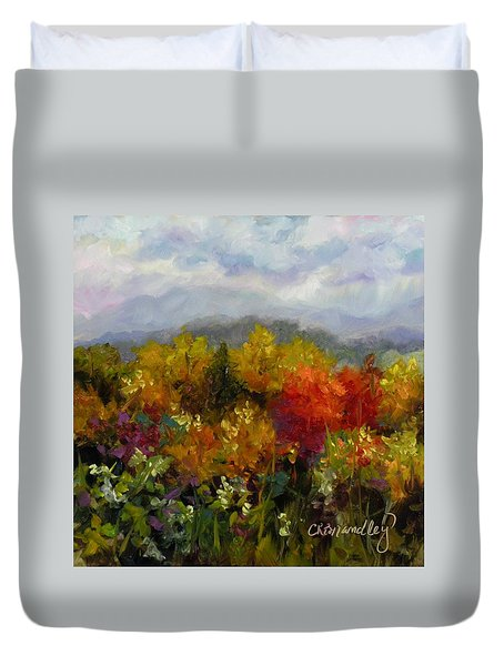 Duvet Cover featuring the painting Autumn Jewels by Chris Brandley
