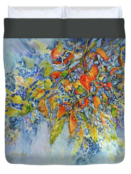 Duvet Cover featuring the painting Autumn Lace by Joanne Smoley