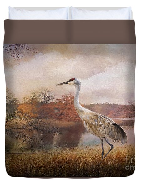 Autumn Lake Crane Duvet Cover