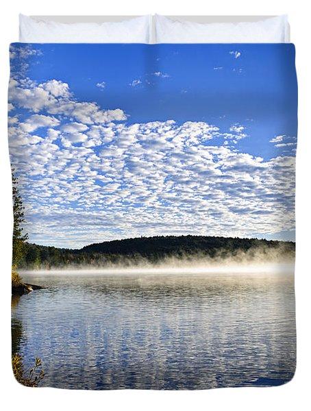 Autumn Lake Shore With Fog Duvet Cover