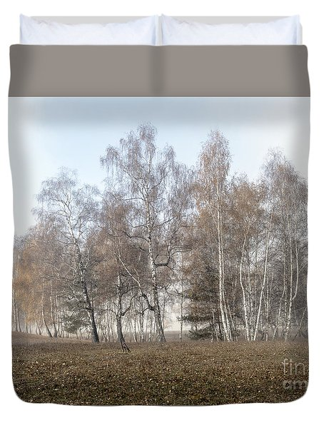 Autumn Landscape In A Birch Forest With Fog Duvet Cover