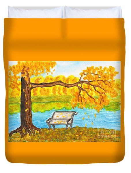 Autumn Landscape With Tree And Bench, Painting Duvet Cover