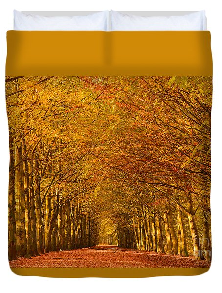 Autumn Lane In An Orange Forest Duvet Cover