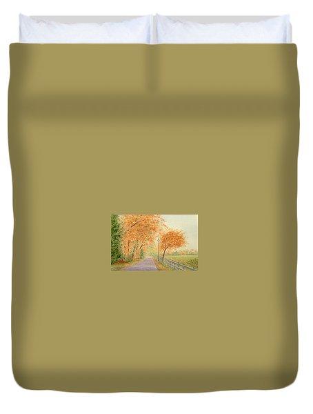 Autumn Lane - Royden Park, Wirral Duvet Cover by Peter Farrow