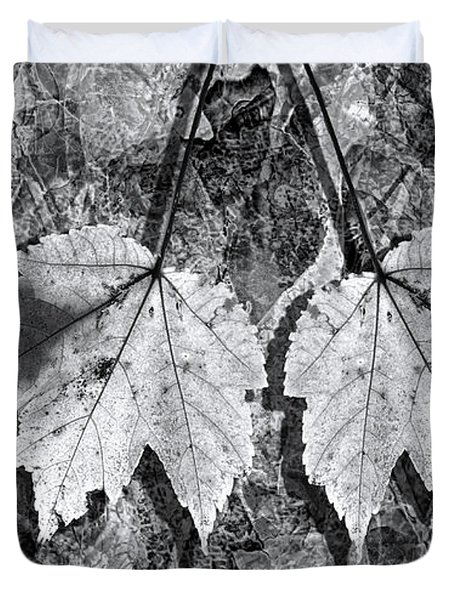 Autumn Leaf Abstract In Black And White Duvet Cover