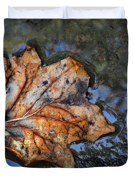 Duvet Cover featuring the photograph Autumn Leaf by Debra and Dave Vanderlaan