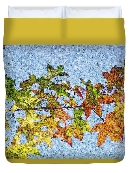 Duvet Cover featuring the photograph Autumn Leaves 2 by Jean Bernard Roussilhe