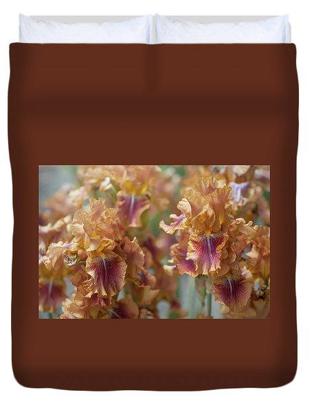 Autumn Leaves Irises In Garden Duvet Cover