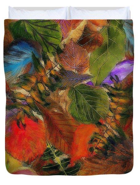 Duvet Cover featuring the digital art Autumn Leaves by Klara Acel