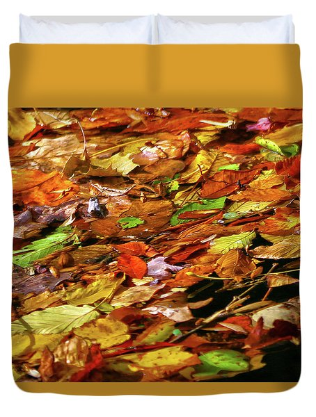Duvet Cover featuring the photograph Autumn Leaves by Mitch Cat