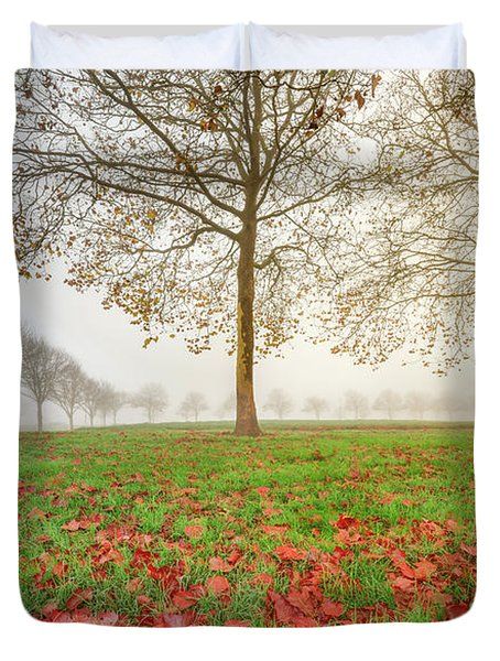 Duvet Cover featuring the photograph Autumn Leaves Near To Far Super High Resolution by William Lee