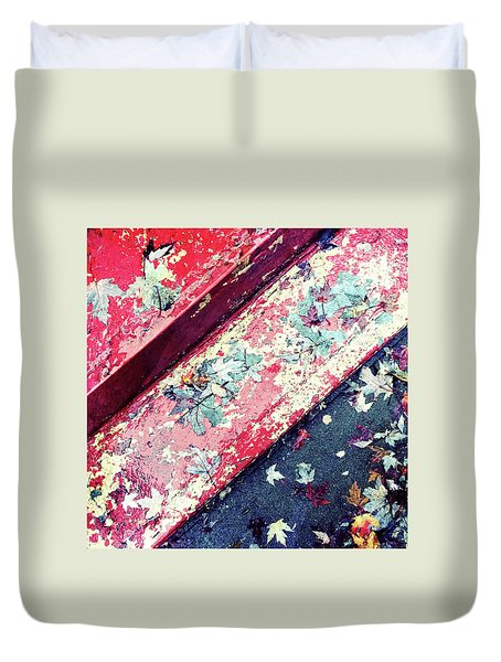 Autumn Leaves On Old Painted Staircase Duvet Cover