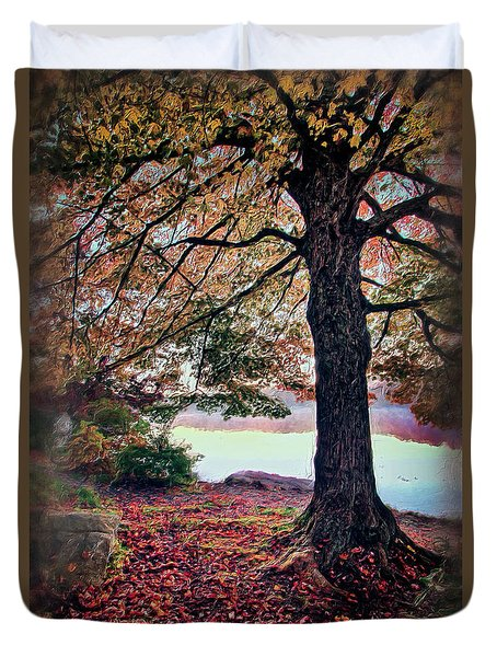 Duvet Cover featuring the painting Autumn Leaves On The Blue Ridge Parkway Ap by Dan Carmichael