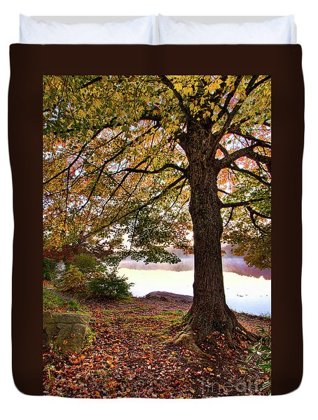 Duvet Cover featuring the painting Autumn Leaves On The Blue Ridge Parkway by Dan Carmichael