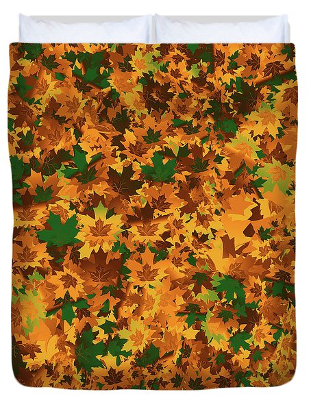 Duvet Cover featuring the digital art Autumn Leaves Pattern by Methune Hively