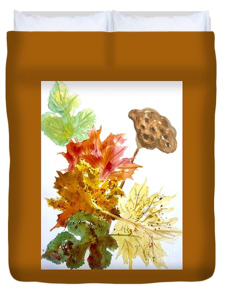 Autumn Leaves Still Life Duvet Cover
