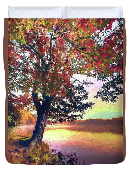Autumn Leaves Tree At Blue Ridge Lake Ap Duvet Cover by Dan Carmichael