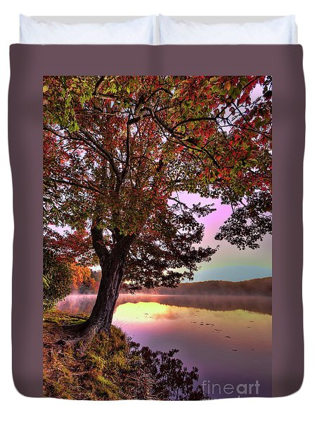 Duvet Cover featuring the photograph Autumn Leaves Tree At Blue Ridge Lake by Dan Carmichael