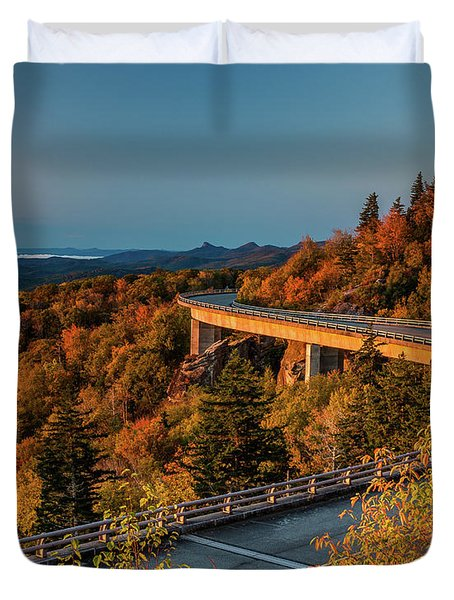 Morning Sun Light - Autumn Linn Cove Viaduct Fall Foliage Duvet Cover