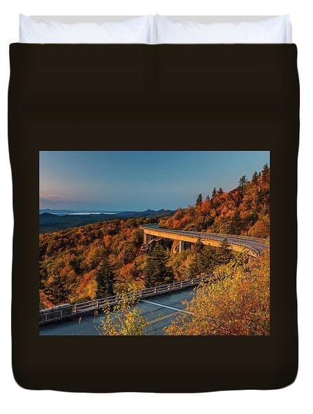 Morning Sun Light - Autumn Linn Cove Viaduct Fall Foliage Duvet Cover