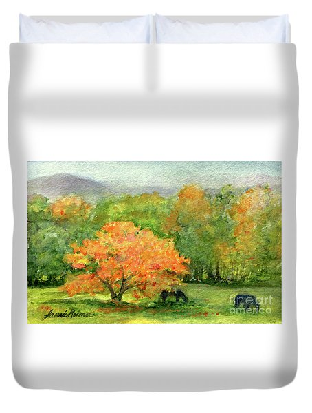 Autumn Maple With Horses Grazing Duvet Cover
