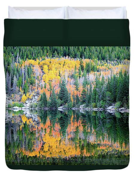 Autumn Mirror At Bear Lake Duvet Cover
