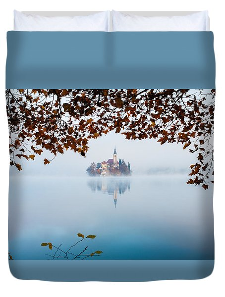 Duvet Cover featuring the photograph Autumn Mist Over Lake Bled by Ian Middleton
