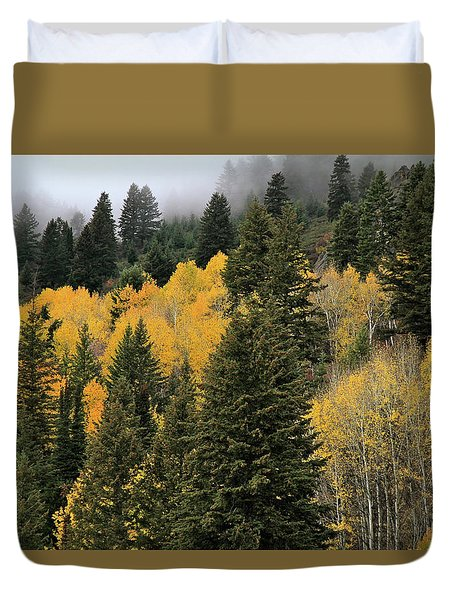 Autumn Mist, Owyhee Mountains Duvet Cover