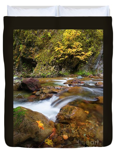 Duvet Cover featuring the photograph Autumn Moment by Mike Dawson