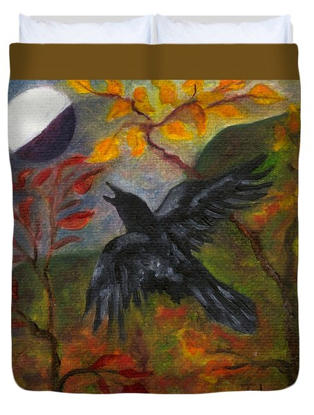 Autumn Moon Raven Duvet Cover