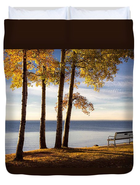 Autumn Morn On The Lake Duvet Cover by Mary Amerman