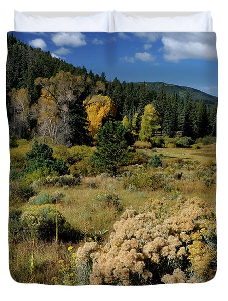 Duvet Cover featuring the photograph Autumn Morning In The Canyon by Ron Cline