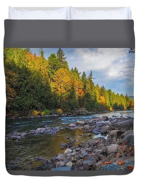 Autumn Morning Light On The Snoqualmie Duvet Cover by Ken Stanback