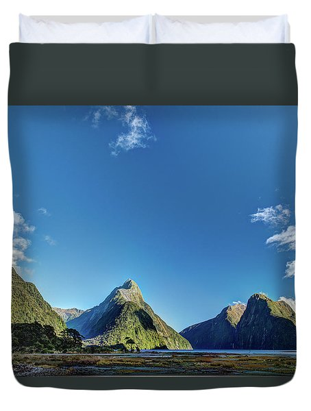 Duvet Cover featuring the photograph Autumn Morning Milford Sound by Gary Eason
