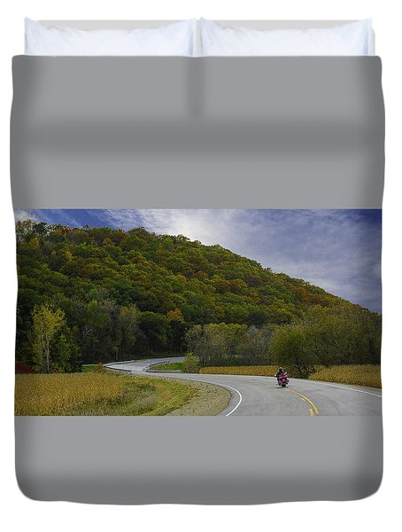Autumn Motorcycle Rider / Red Duvet Cover