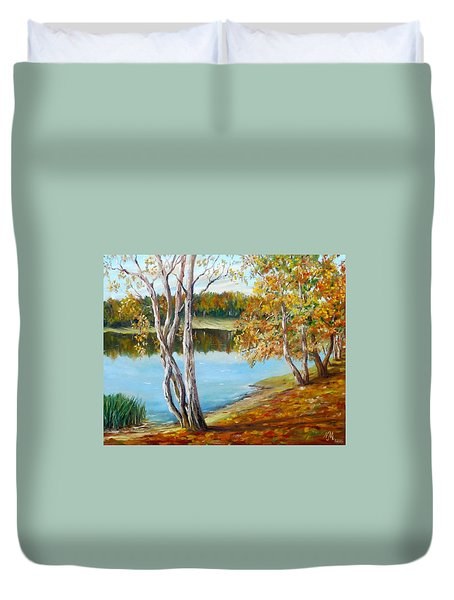 Duvet Cover featuring the painting Autumn by Nina Mitkova