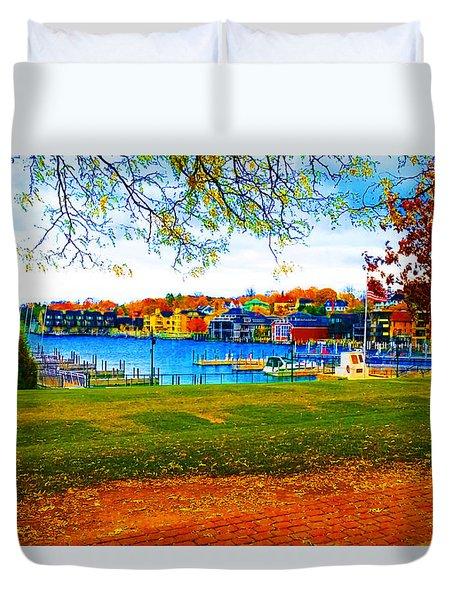 Autumn On Lake Charlevoix Duvet Cover