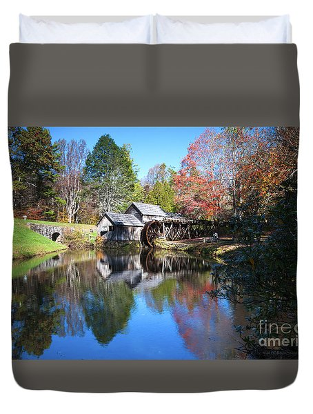 Autumn On The Blue Ridge Parkway At Mabry Mill Duvet Cover by Nature Scapes Fine Art