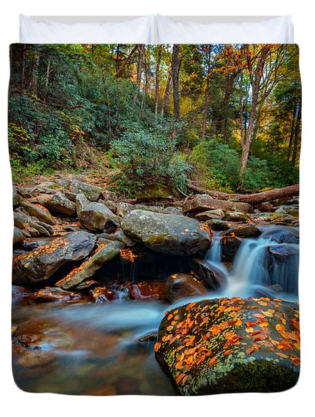 Autumn On The Chimney Tops Trail Duvet Cover