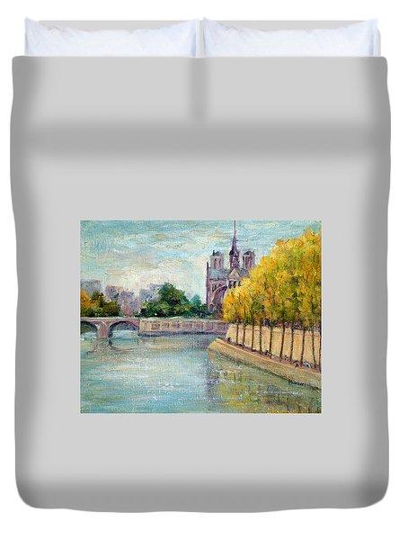 Autumn On The Seine Duvet Cover
