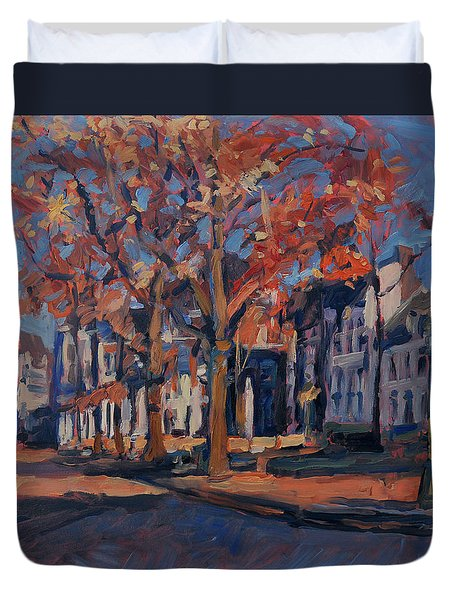 Autumn On The Square Of Our Lady Maastricht Duvet Cover