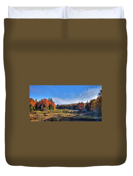 Duvet Cover featuring the photograph Autumn Panorama At The Green Bridge by David Patterson