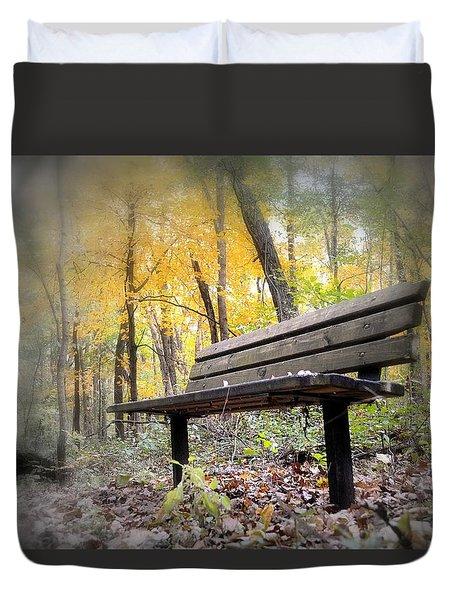 Autumn Park Bench Duvet Cover