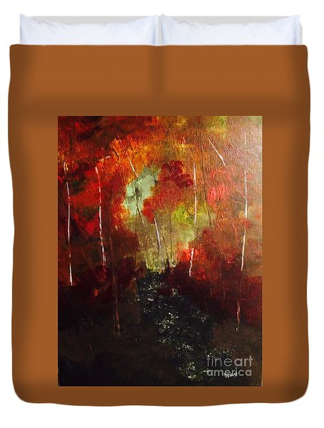 Duvet Cover featuring the painting Sunset Trail by Denise Tomasura