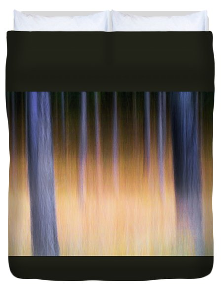 Duvet Cover featuring the photograph Autumn Pine Forest Abstract by Dirk Ercken