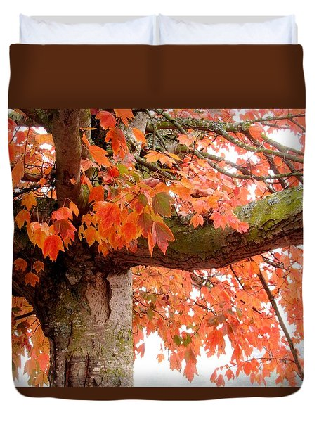 Autumn Pink Leaves Duvet Cover