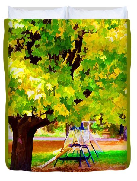 Autumn Playground Duvet Cover by Lanjee Chee