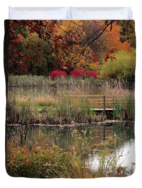 Autumn Pond In Maryland Duvet Cover
