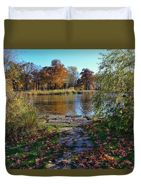 Duvet Cover featuring the photograph Autumn Pond by Nikki McInnes
