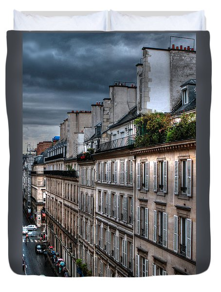 Autumn Rain Paris France Duvet Cover